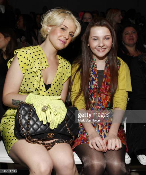 Kelly Osbourne and actress Abigail Breslin attend Nanette Lepore Fall 2010 during MercedesBenz Fashion Week at Bryant Park on February 17 2010 in New...