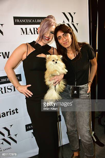 Kelly Osbourne and designer Francesca Liberatore pose backstage just before the start of the Francesca Liberatore show during September 2016 New York...