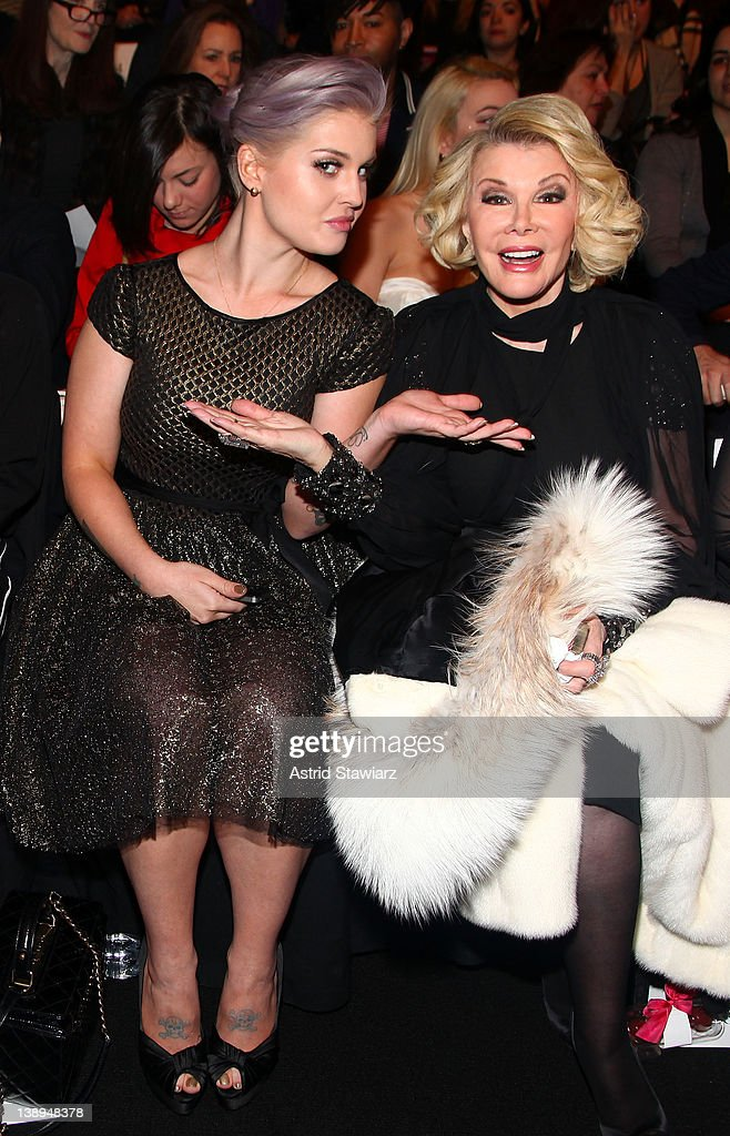 Kelly Osbourne and Joan Rivers attend the Badgley Mischka Fall 2012 fashion show during Mercedes-Benz Fashion Week at The Theatre at Lincoln Center on February 14, 2012 in New York City.