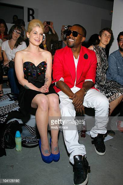 Kelly Osbourne and Kanye West attend the Jeremy Scott Spring 2011 fashion show during MercedesBenz Fashion Week at Milk Studios on September 15 2010...