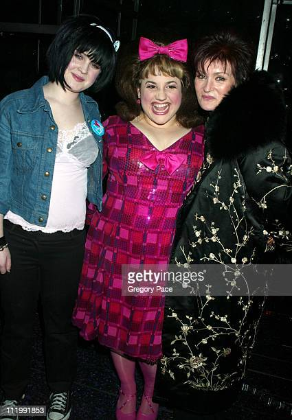 Kelly Osbourne and mom Sharon Osbourne pose with the star of the show 'Hairspray' Melissa JaretWinokur