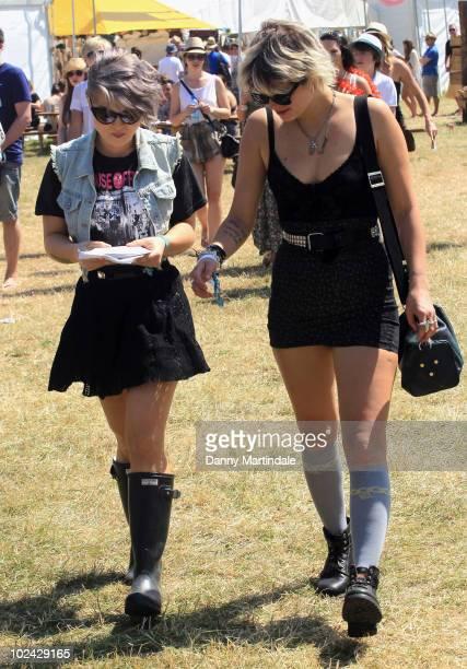 Kelly Osbourne and Pixie Geldof attend Glastonbury Festival at Worthy Farm on June 26 2010 in Glastonbury England