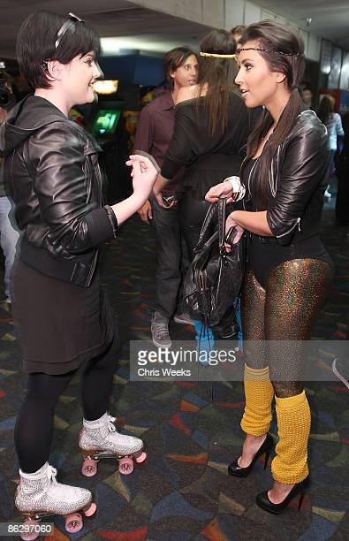 Kelly Osbourne and reality television personality Kim Kardashian attend a party launching Pepsi Throwback at World on Wheels on April 29 2008 in Los...
