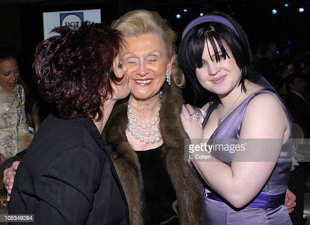 Kelly Osbourne Barbara Davis and Sharon Osbourne during 2004 Clive Davis PreGrammy Party Backstage and Audience at Beverly Hills Hotel in Beverly...