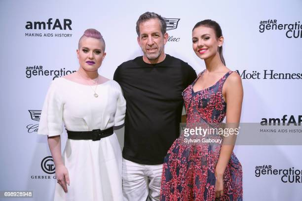 Kelly Osbourne Kenneth Cole and Victoria Justice attend amfAR generationCURE Solstice 2017 at Mr Purple on June 20 2017 in New York City