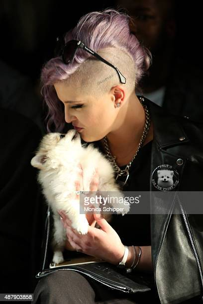 Kelly Osbourne kisses her dog Poppy at Francesca Liberatore Spring 2016 during New York Fashion Week The Shows at The Dock Skylight at Moynihan...