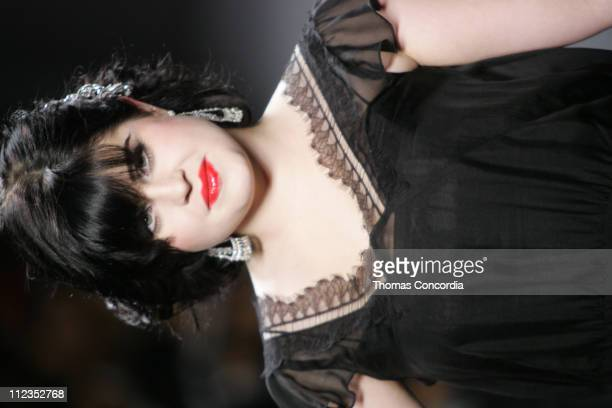Kelly Osbourne models during the 'Fashion For Relief' charity runway event in Bryant Park New York City on September 16 2005 The celebrity fashion...