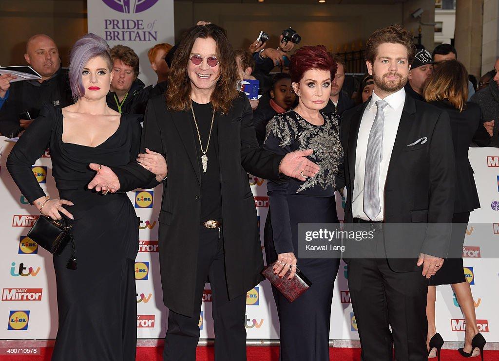 Kelly Osbourne, Ozzy Osbourne, Sharon Osbourne and Jack Osbourne attend the Pride of Britain awards at The Grosvenor House Hotel on September 28, 2015 in London, England.