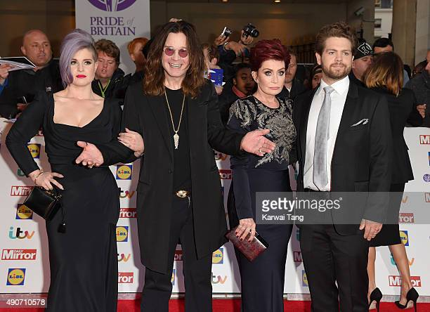 Kelly Osbourne Ozzy Osbourne Sharon Osbourne and Jack Osbourne attend the Pride of Britain awards at The Grosvenor House Hotel on September 28 2015...
