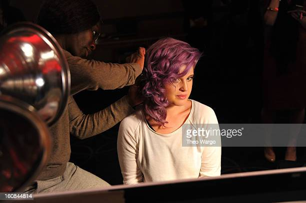 Kelly Osbourne prepares backstage at the Heart Truth 2013 Fashion Show at Hammerstein Ballroom on February 6 2013 in New York City