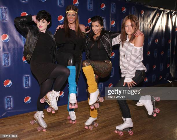 Kelly Osbourne reality television personalities Khloe Kardashian Kim Kardashian and an unidentified guest attend a party launching Pepsi Throwback at...