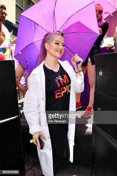 Kelly Osbourne rides the amfAR #BeEpicEndAIDS float during the 2017 New York City Pride March on June 25 2017 in New York City