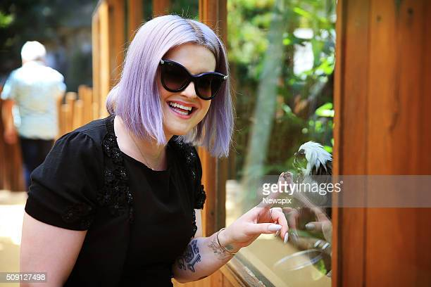 Kelly Osbourne views a cottontop tamarin at Taronga Zoo in Sydney New South Wales during a promotional visit for the reality television show...