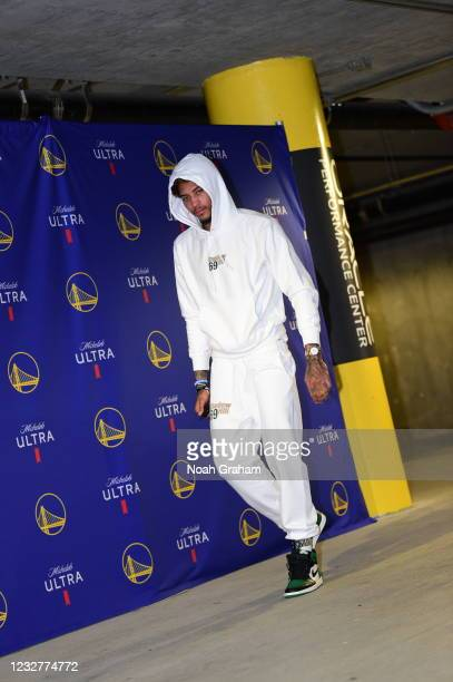 Kelly Oubre Jr. #12 of the Golden State Warriors arrives to the arena before the game against the Oklahoma City Thunder on April 8, 2021 at Chase...