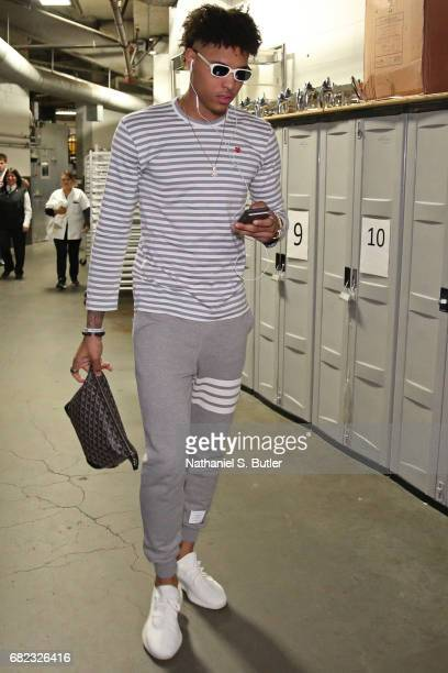 Kelly Oubre Jr #12 of the Washington Wizards arrives at the arena before Game Five of the Eastern Conference Semifinals against the Boston Celtics...