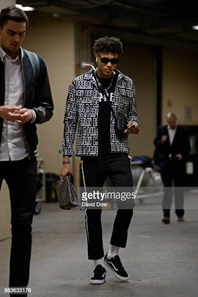 Kelly Oubre Jr #12 of the Washington Wizards arrives at the arena before the game against the Philadelphia 76ers at the Wells Fargo Center on...