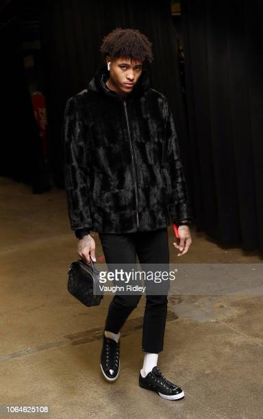 Kelly Oubre Jr #12 of the Washington Wizards arrives for an NBA game against the Toronto Raptors at Scotiabank Arena on November 23 2018 in Toronto...