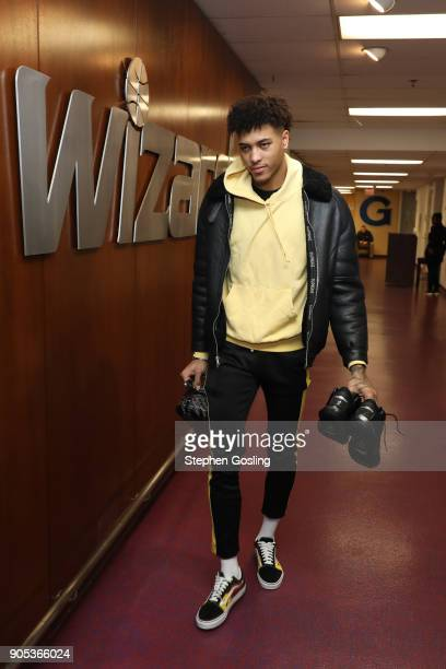 Kelly Oubre Jr #12 of the Washington Wizards arrives to the arena prior to the game against the Milwaukee Bucks on January 15 2018 at Capital One...