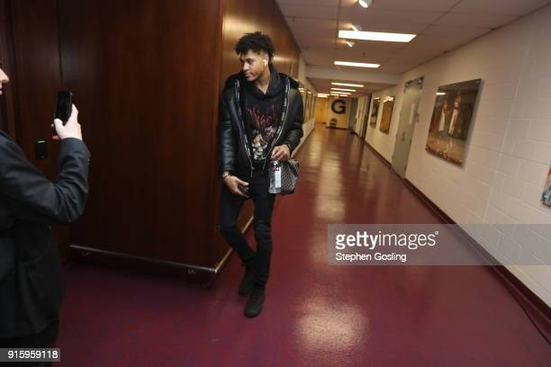 Kelly Oubre Jr #12 of the Washington Wizards arrives to the arena prior to the game against the Boston Celtics on February 8 2018 at Capital One...