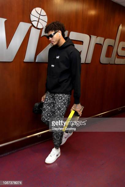 Kelly Oubre Jr #12 of the Washington Wizards arrives to the game against the New York Knicks on November 4 2018 at Capital One Arena in Washington DC...