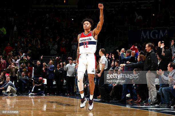 Kelly Oubre Jr #12 of the Washington Wizards celebrates the victory against the Chicago Bulls on January 10 2017 at Verizon Center in Washington DC...