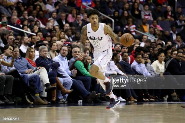 Kelly Oubre Jr #12 of the Washington Wizards dribbles the ball against the Boston Celtics at Capital One Arena on February 8 2018 in Washington DC...