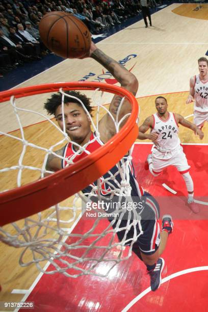 Kelly Oubre Jr #12 of the Washington Wizards dunks the ball during the game against the Toronto Raptors on February 1 2018 at Capital One Arena in...