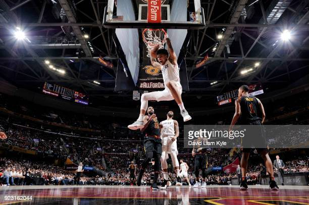 Kelly Oubre Jr #12 of the Washington Wizards dunks the ball during the game against the Cleveland Cavaliers on February 22 2018 at Quicken Loans...