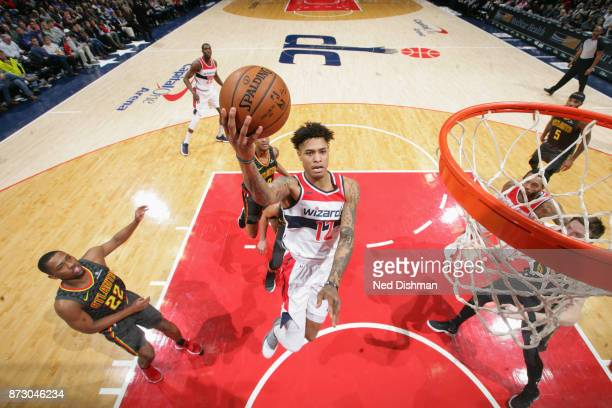 Kelly Oubre Jr #12 of the Washington Wizards goes to the basket against the Atlanta Hawks on November 11 2017 at Capital One Arena in Washington DC...