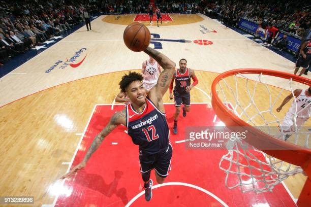 Kelly Oubre Jr #12 of the Washington Wizards goes to the basket against the Toronto Raptors on February 1 2018 at Capital One Arena in Washington DC...