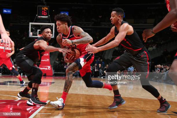 Kelly Oubre Jr #12 of the Washington Wizards handles the ball against the Portland Trail Blazers on November 18 2018 at Capital One Arena in...