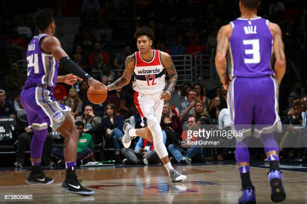 Kelly Oubre Jr #12 of the Washington Wizards handles the ball against the Sacramento Kings on November 13 2017 at Capital One Arena in Washington DC...