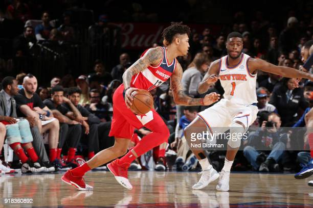 Kelly Oubre Jr #12 of the Washington Wizards handles the ball against the New York Knicks on February 14 2018 at Madison Square Garden in New York NY...