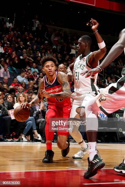 Kelly Oubre Jr #12 of the Washington Wizards handles the ball during the game against the Milwaukee Bucks on January 15 2018 at Capital One Arena in...