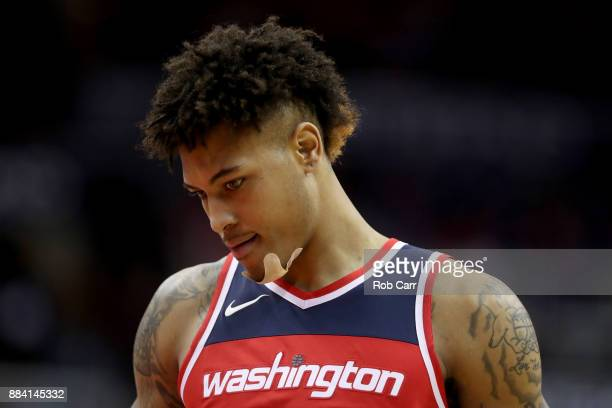 Kelly Oubre Jr #12 of the Washington Wizards looks on against the Detroit Pistons at Capital One Arena on December 1 2017 in Washington DC NOTE TO...