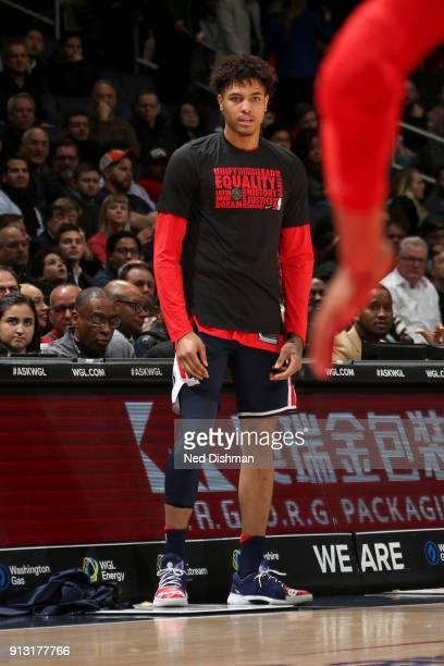 Kelly Oubre Jr #12 of the Washington Wizards looks on during the game against the Toronto Raptors on February 1 2018 at Capital One Arena in...