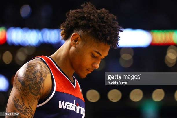 Kelly Oubre Jr #12 of the Washington Wizards looks on during the second quarter of Game Two of the Eastern Conference Semifinals against the Boston...