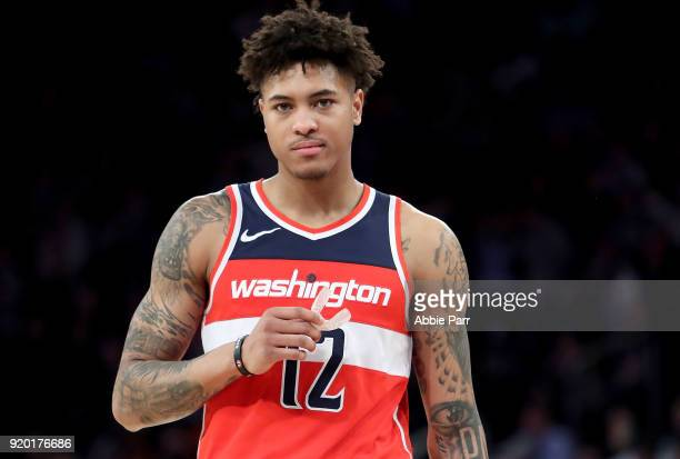 Kelly Oubre Jr #12 of the Washington Wizards reacts in the second half against the New York Knicks during their game at Madison Square Garden on...