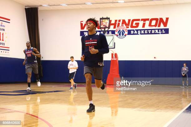 Kelly Oubre Jr. #12 of the Washington Wizards runs up court during an all-access practice at the Washington Wizards practice Facility on March 17,...