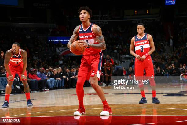 Kelly Oubre Jr #12 of the Washington Wizards shoots the ball against the Miami Heat on November 17 2017 at Capital One Arena in Washington DC NOTE TO...