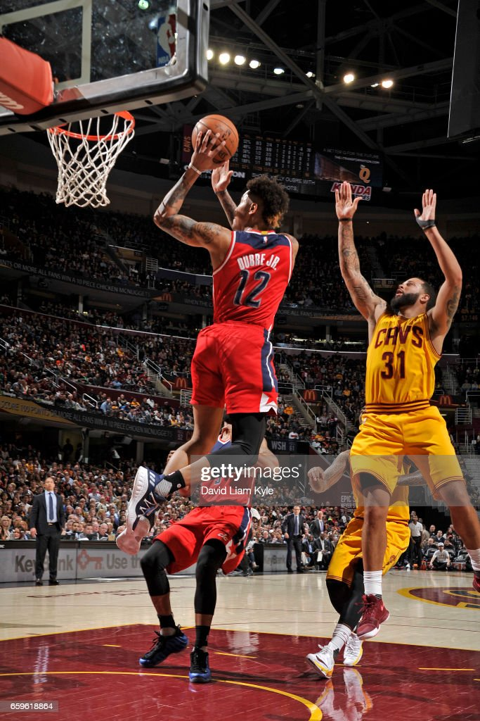 Kelly Oubre Jr. #12 of the Washington Wizards shoots the ball during a game against the Cleveland Cavaliers on March 25, 2017 at Quicken Loans Arena in Cleveland, Ohio.