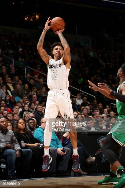Kelly Oubre Jr #12 of the Washington Wizards shoots the ball during the game against the Boston Celtics on February 8 2018 at Capital One Arena in...