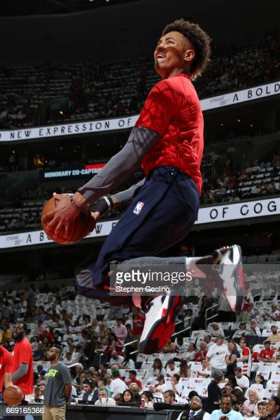 Kelly Oubre Jr #12 of the Washington Wizards warms up before the game against the Atlanta Hawks during the Eastern Conference Quarterfinals of the...
