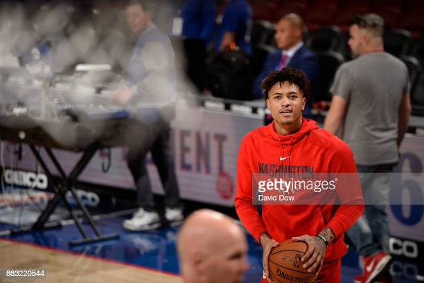 Kelly Oubre Jr #12 of the Washington Wizards warms up before the game against the Philadelphia 76ers at the Wells Fargo Center on November 29 2017 in...