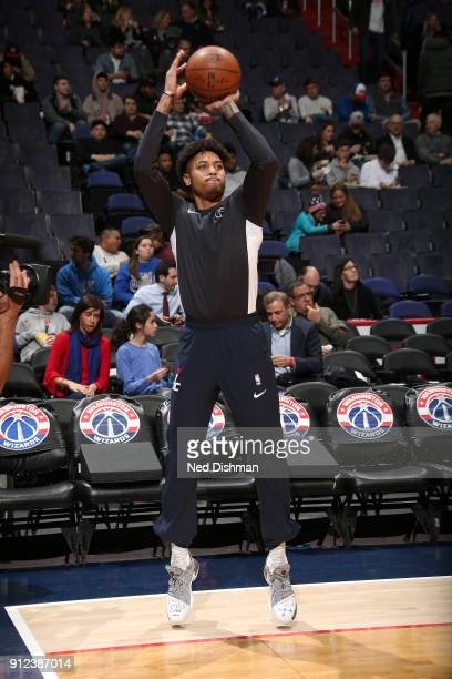 Kelly Oubre Jr #12 of the Washington Wizards warms up before the game against the Oklahoma City Thunder on January 30 2018 at Capital One Arena in...