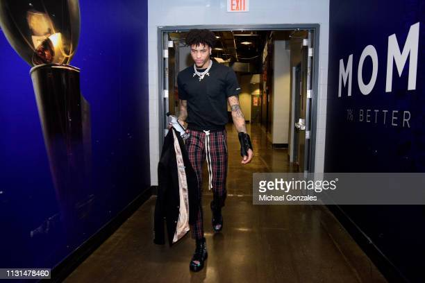 Kelly Oubre Jr #3 of the Phoenix Suns arrives to the arena before the game against the Chicago Bulls on March 18 2019 at Talking Stick Resort Arena...