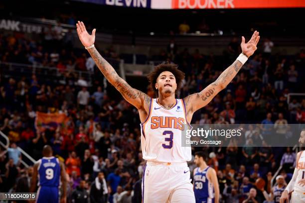 Kelly Oubre Jr #3 of the Phoenix Suns celebrates during the game against the Philadelphia 76ers on November 4 2019 at Talking Stick Resort Arena in...