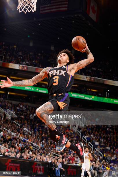 Kelly Oubre Jr #3 of the Phoenix Suns dunks the ball against the Golden State Warriors on February 8 2019 at Talking Stick Resort Arena in Phoenix...