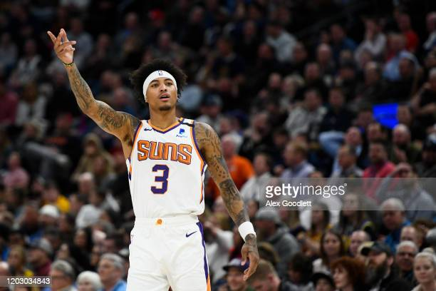Kelly Oubre Jr. #3 of the Phoenix Suns motions to the crowd against the Utah Jazz at Vivint Smart Home Arena on February 24, 2020 in Salt Lake City,...