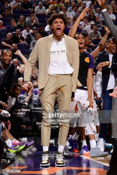 Kelly Oubre Jr #3 of the Phoenix Suns reacts against the Utah Jazz on April 3 2019 at Talking Stick Resort Arena in Phoenix Arizona NOTE TO USER User...